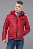 Ветровка красная мужская эко-кожа с капюшоном Kiro Tokao 4115R