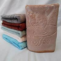 """Недорогие махровые салфетки с выбитым узором """"Coffee"""", фото 1"""