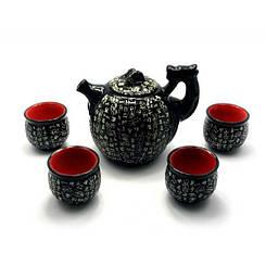 """Сервиз керамический """"Дракон с иероглифами""""(чайник 670мл, h-13,5см,d-11см;4 чашки 40мл,h-5см,d-5,5см)"""