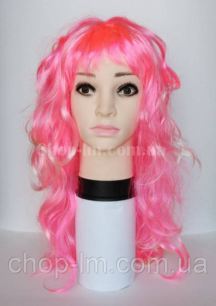 Парик карнавальный розовый, мелированный