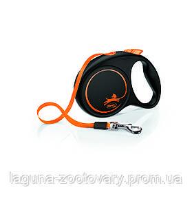 Поводок - Рулетка ФЛЕКСИ Лимитед Эдишн для собак до 25кг, лента 5м, черный/оранжевый