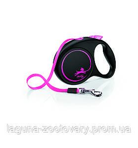 Поводок - Рулетка ФЛЕКСИ Лимитед Эдишн для собак до 25кг, лента 5м, черный/розовый
