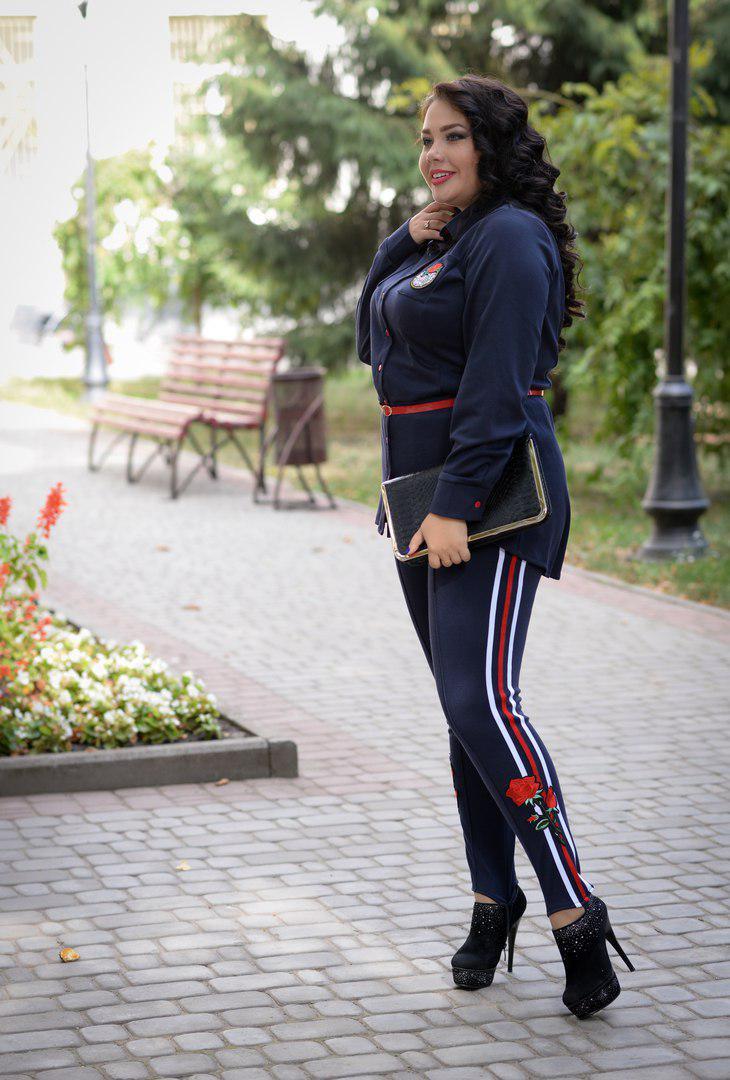 Женские брюки больших размеров с лампасами Роуз синие