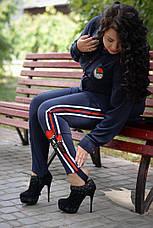 Женские брюки больших размеров с лампасами Роуз синие, фото 3