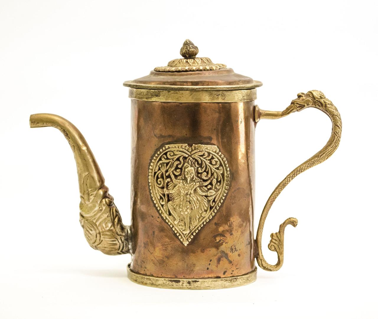 Антикварный азиатский? медный чайник, заварник, кофейник