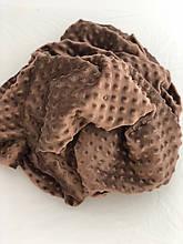 Плюшевая ткань Minky коричневого цвета (пупырка)      Лоскут  (55*160)