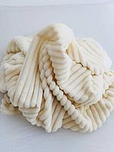 Плюшевая ткань Minky Stripes молочного цвета (шарпей) (кратно2-3 м )