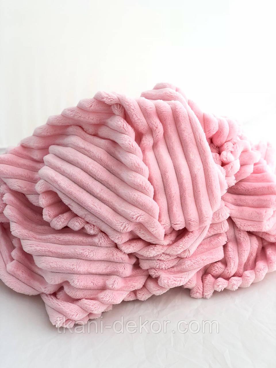 Плюшевая ткань Minky Stripes розового цвета (шарпей)