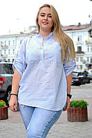 Женская льняная рубашка-туника с регулируемым рукавом БАТАЛ, фото 1