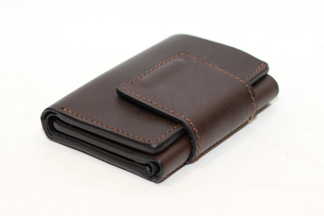 Компактный кардхолдер-портмоне Grande Pelle коричневого цвета (12850)