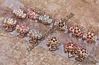 Крабики для волос, метал золотистого цвета, камни разных цветов, 12 штук в упаковке