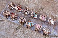 Крабики для волос, метал серого цвета, камни разных цветов, 12 штук в упаковке