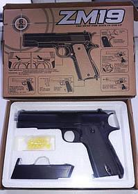 Игрушечное оружие Пистолет CYMA ZM19 металлический с пульками. Кольт