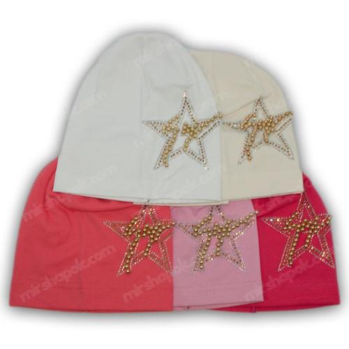 Детская трикотажная шапка с камнями