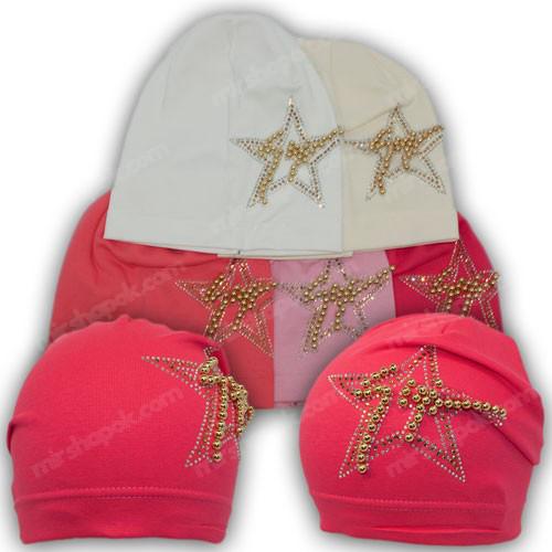 Детская трикотажная шапка с камнями, р. 50-52