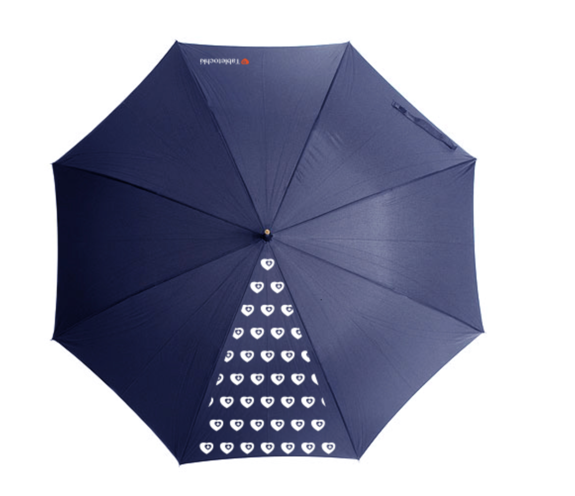 Парасоля-тростина синя з декоративним сектором, всіяним сердечками