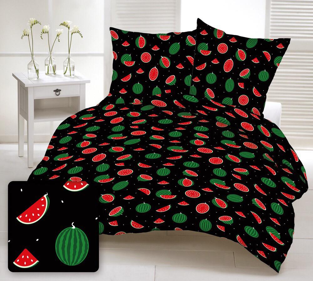 Хлопковая ткань польская арбузы маленькие красно-зеленые на черном