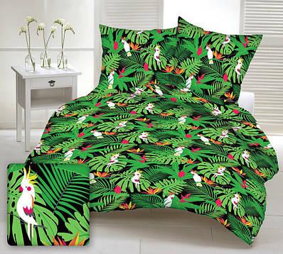Ткань хлопковая польская попугаи белые в ярко-зеленых листьях на черном