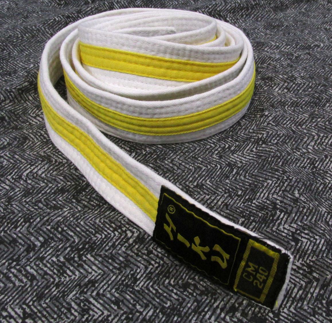 Пояс кимоно белый с желт. полосой Hiku, 240 , (220х3.5 см), Оч хор сос