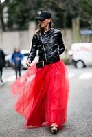 Длинная юбка в пол из евросетки цвет красный