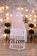 """Овальная кроватка-трансформер """"Габаритная"""" 8 в 1 в белом цвете"""