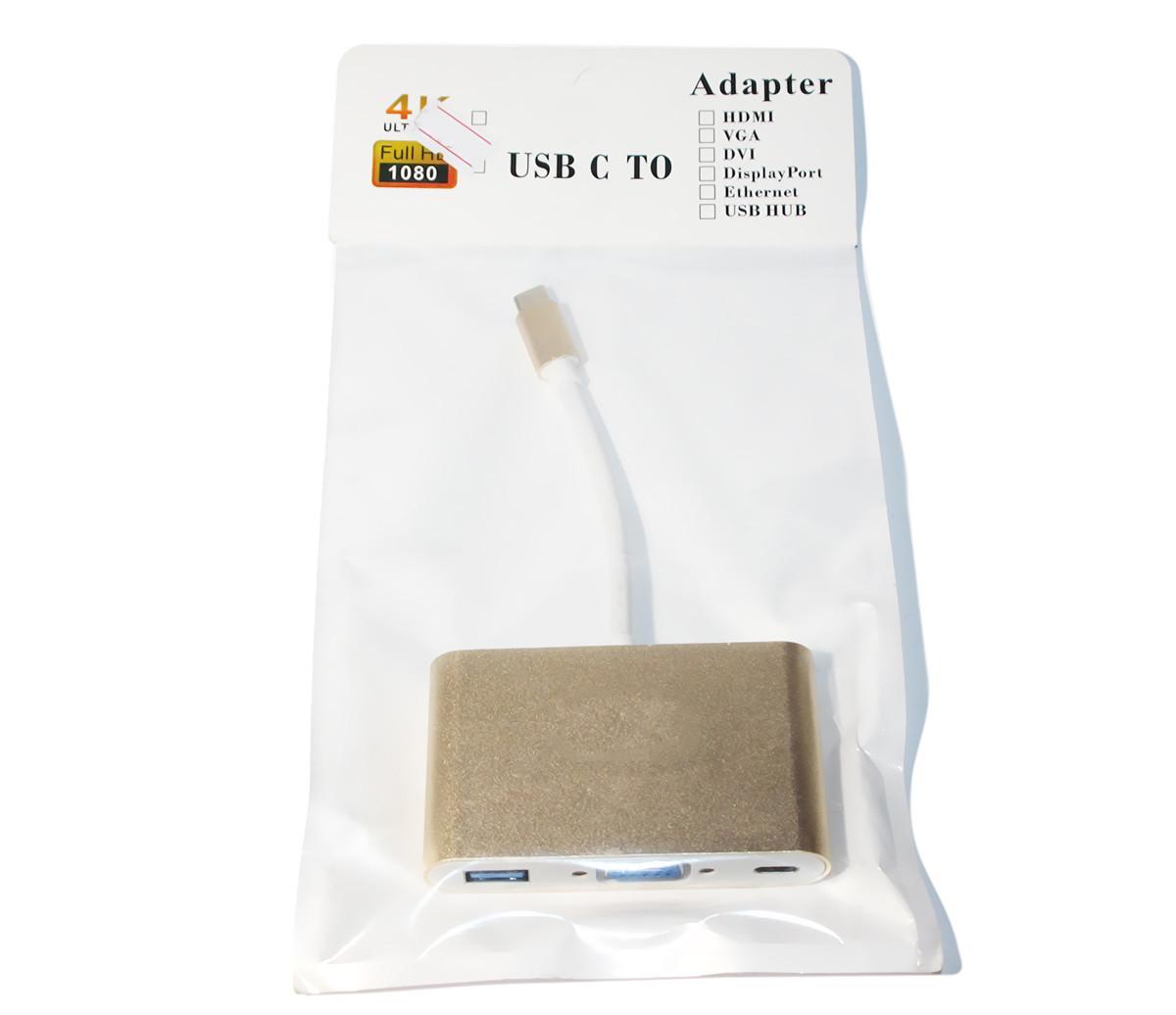 Конвертер Type-C (папа) на VGA(мама)+USB 3.0(мама)+Type-C(мама) 10cm,