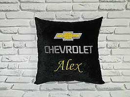 Автомобильная подушка с вышивкой логотипа и текстом