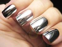 Зеркальная пудра Хром - серебро для дизайна ногтей, фото 1