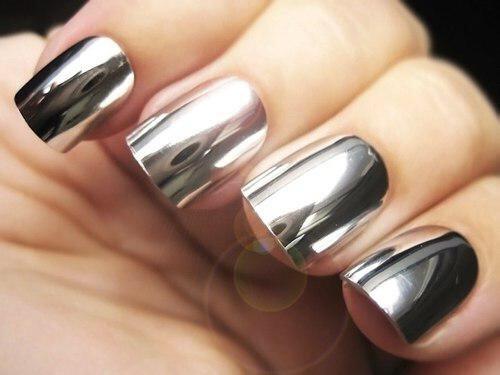 Зеркальная пудра Хром - серебро для дизайна ногтей