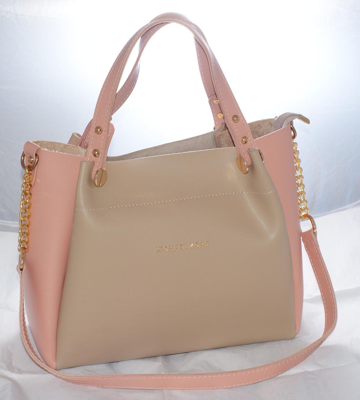 b70250b4c324 Женская сумка Michael Kors (Майкл Корс), бежевая с розовым  продажа ...