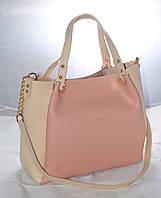 Женская сумкаMісhаеl Коrs (в стиле Майкл Корс), розовая с бежевым