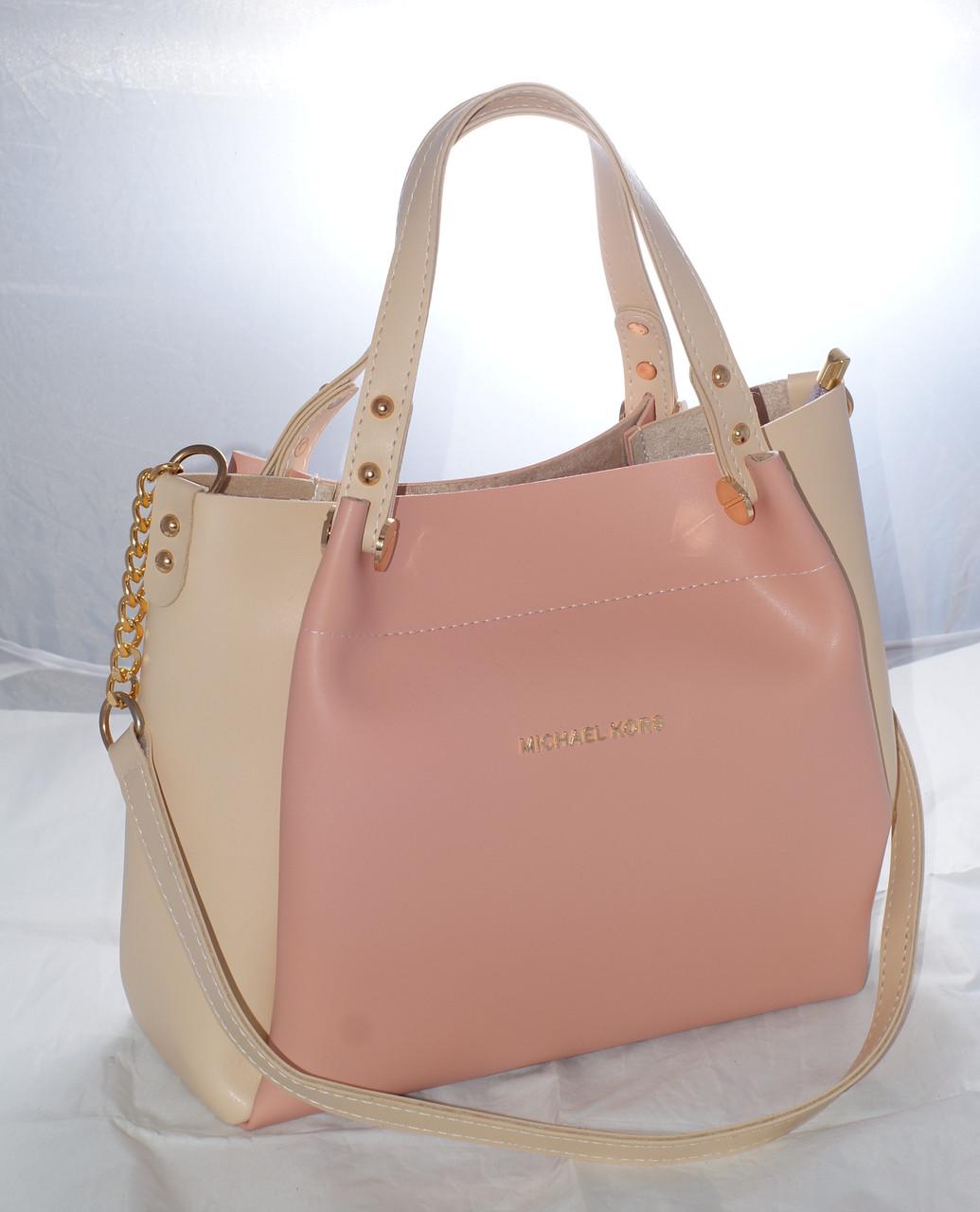f54d315f49db Женская сумка Michael Kors (Майкл Корс), розовая с бежевым: продажа ...