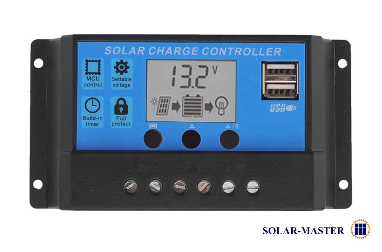 Солнечный контроллер заряда 10А 12В / 24В 2 USB гнезда, дисплей