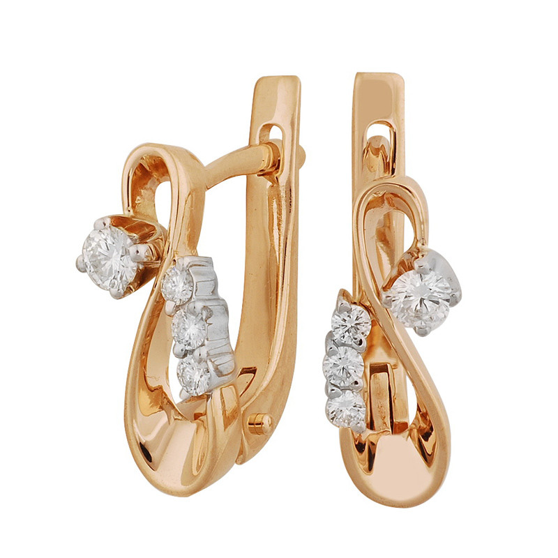 Золотые серьги с бриллиантами - 3,44 г
