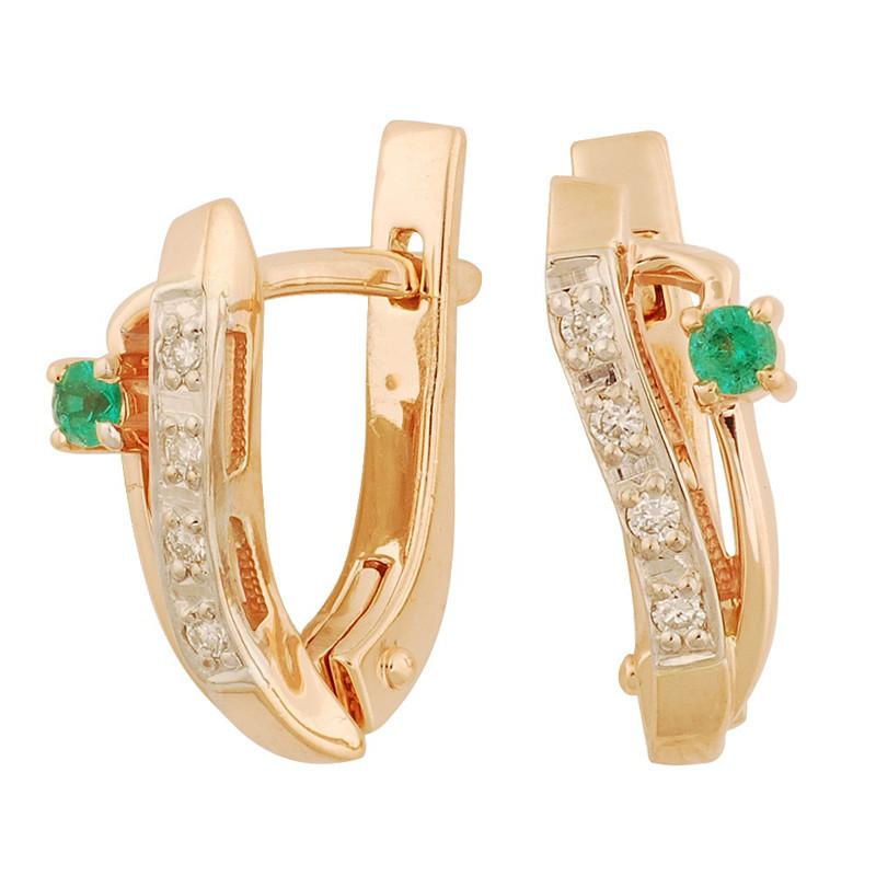 Золотые серьги с бриллиантами и изумрудами - 3 г