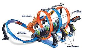 Трек Хот Вилс Невероятные виражи Тройная петля Hot Wheels Corkscrew Crash Track Set FTB65