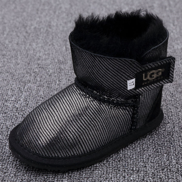 Детские угги (UGG Australia Kid's) серебристо-черные 11,5см-16см