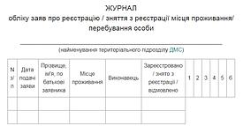Журнал обліку заяв про реєстрацію/зняття з реєстрації місця проживання/ перебування особи (офсет)