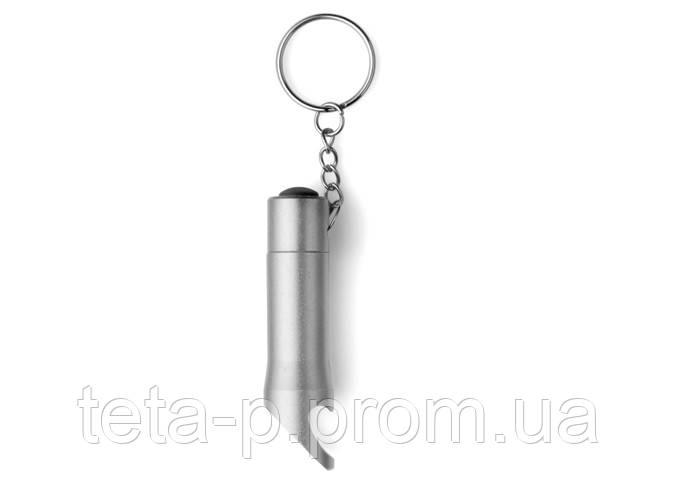 Брелок - фонарик с открывалкой металлический