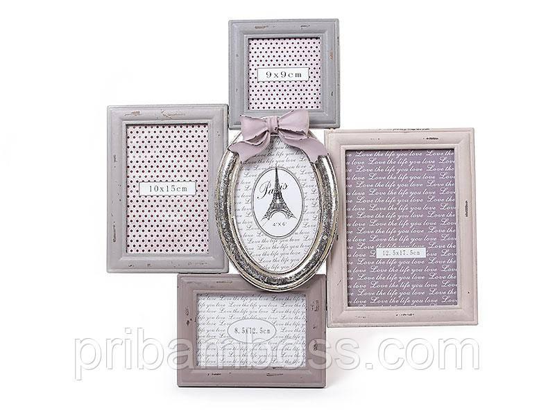 Рамка-колаж, фотоколаж дерев'яна настінна на 5 антик срібло