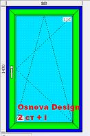 Окно 860х1430 4-х камерный профиль Osnova Design 2 стекла белое