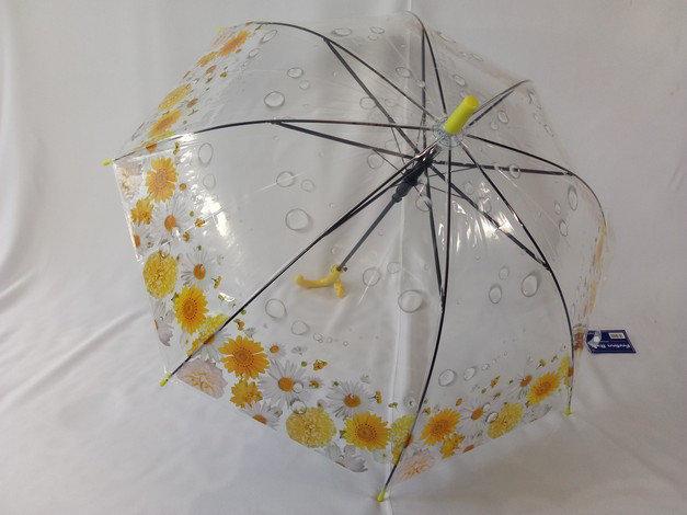 Зонтик детский прозрачный с цветами по краю купола  на 8 спиц со свистком