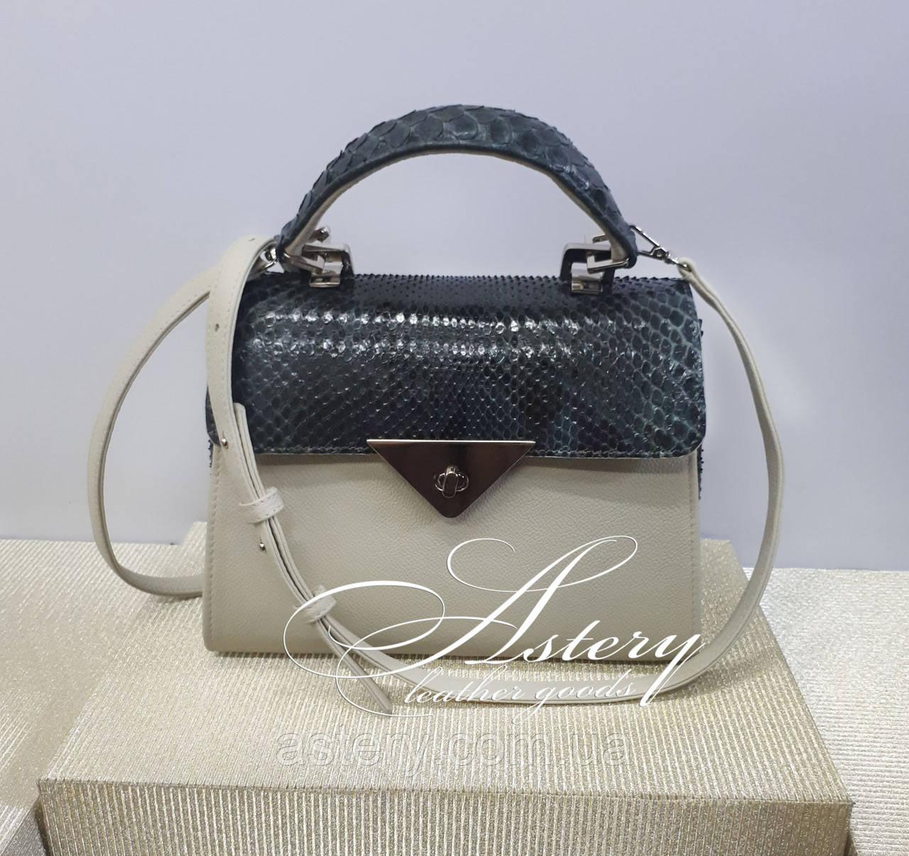 Женская бежевая кожаная сумка SABINA с изумрудным питоном