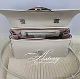 Женская бежевая кожаная сумка SABINA с изумрудным питоном, фото 3