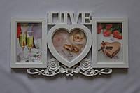 Рамка коллаж 170 Love 3 фото белая