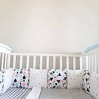 Бортики в кроватку с черно-белыми принтами, защита в детскую кроватку