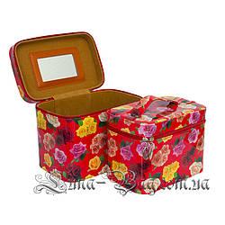Набор из 2 сундуков 5 Цветов Цветы Красный (Размер: 1) 21*25.5*17.5 2) 18*23*15)