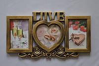 Рамка коллаж 170 Love 3 фото бронза