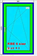 Окно 860х1430 6-ти камерный немецкий профиль KBE6 3 стекла белое