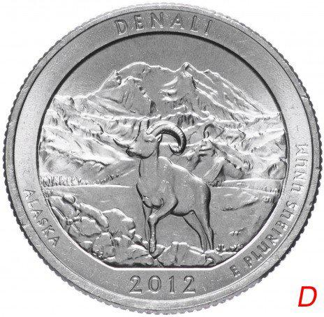 США 25 центов 2012 - Национальный парк Денали 15 Парк D